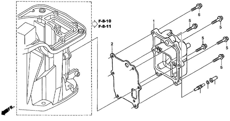 крышка выхлопной камеры honda BF 15 D3SHU Exhaust Chamber Cover