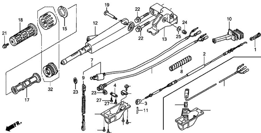 ручка рулевого управления honda BF15 D3 SHU Handlebar