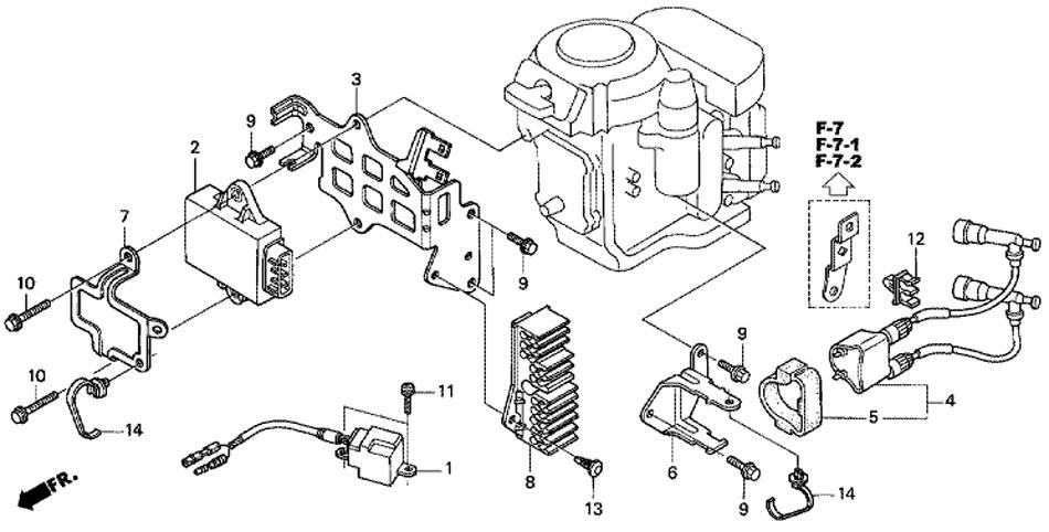 катушка зажигания, блок контактного зажигания для двигателя honda BF15D3 SHU