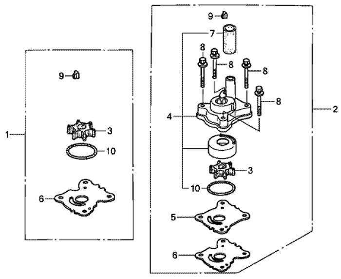 комплект центробежного насоса Honda BF15, импеллер и крыльчатка
