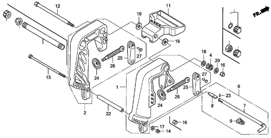 кронштейн транца мотора Honda BF15 D3 SHU Stern Bracket