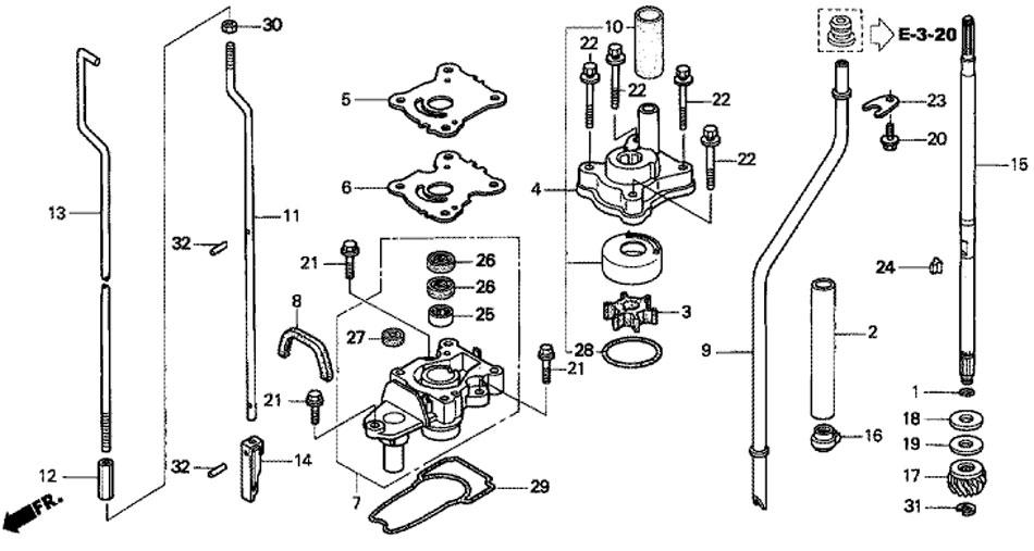 водяной насос и вертикальный вал honda BF15 D3 SHU лодочный мотор
