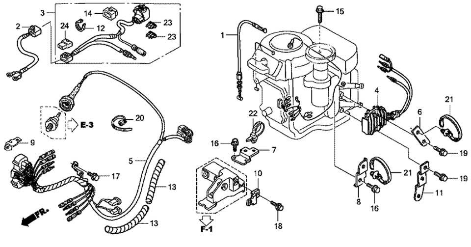 жгут проводов и зарядная катушка для honda BF15 D3 SHU