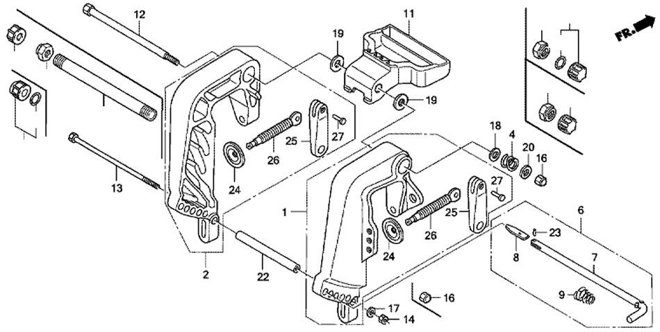 кронштейн транца - лодочный мотор Honda BF20 D3 SHU - Stern Bracket