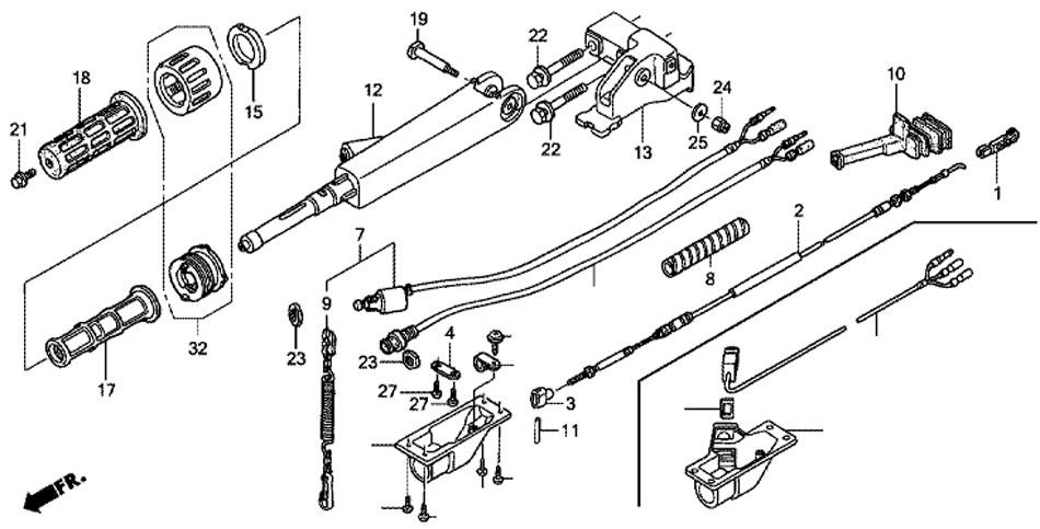 мотор лодочный Honda BF20 D3 SHU ручка рулевого управления
