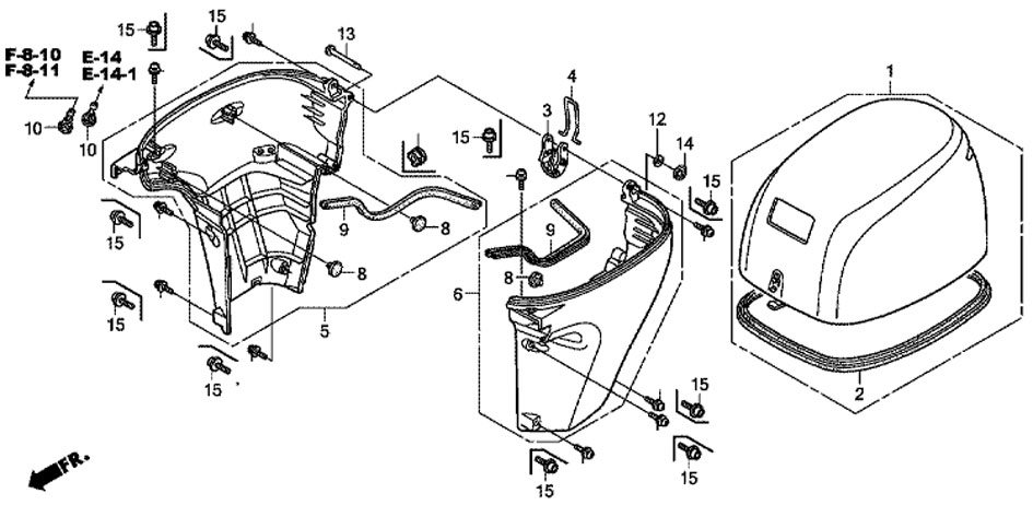 крышка двигателя Honda BF20 D3 SHU Engine Cover