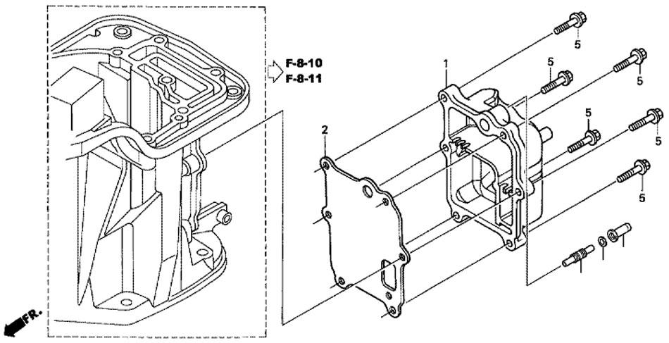 крышка выхлопной камеры Honda BF-20 D3 SHU