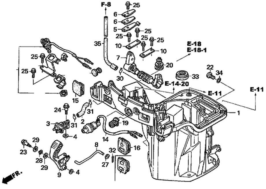 вал механизма переключения Honda BF20D3 SHU и маслянный кожух