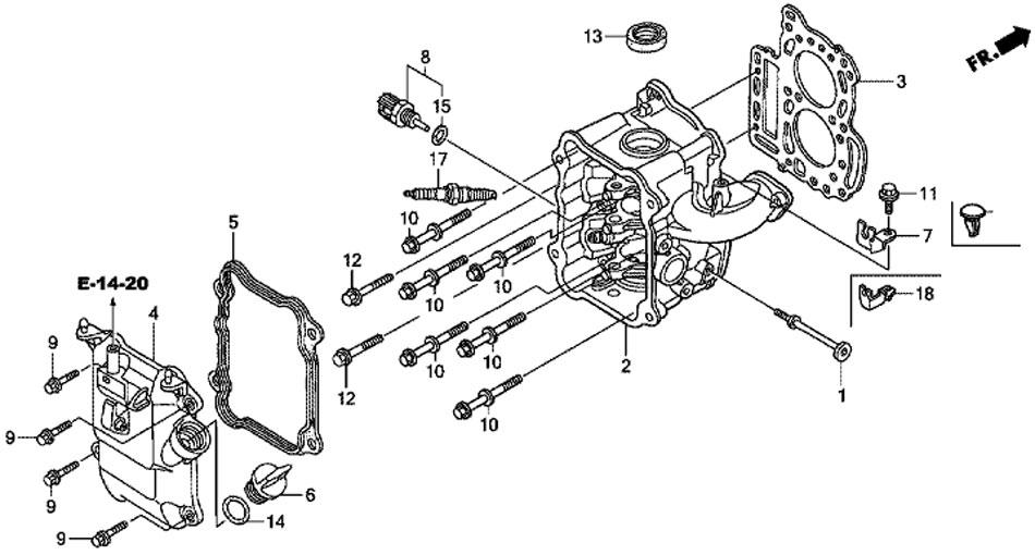 головка блока цилиндров для honda BF20 D3 SHU