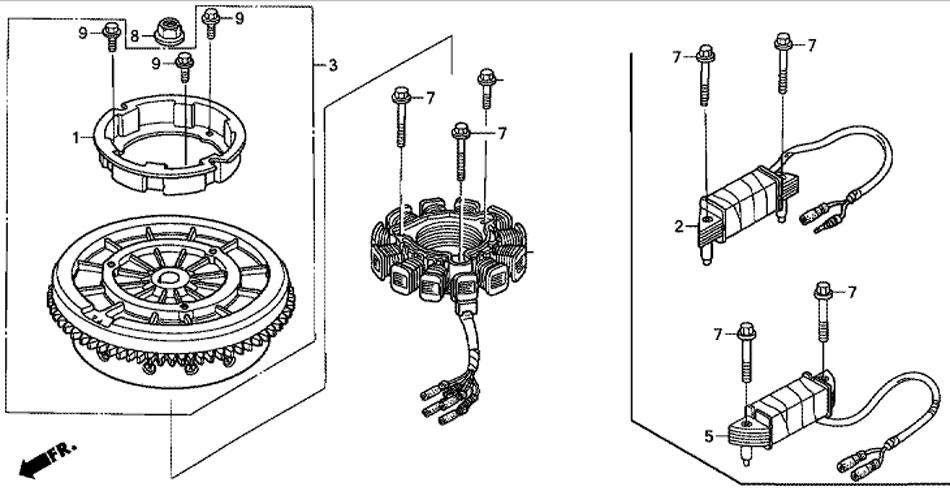 лодочный мотор Honda BF20D3SHU маховик Flywheel
