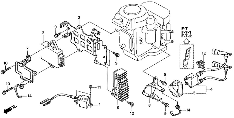 подвесной мотор Honda BF20 D3 SHU зажигание и блок C.D.I.