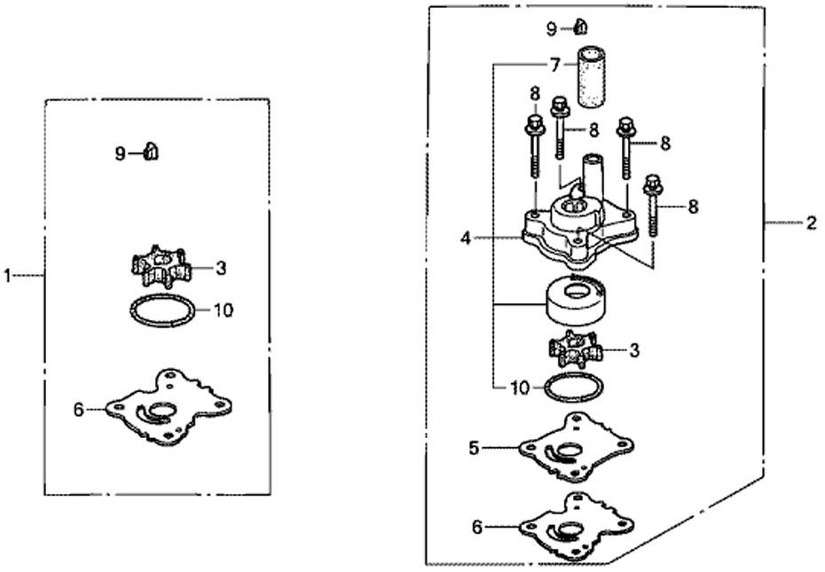 ремкомплект насоса-помпы Honda BF20, импеллер+крыльчатка
