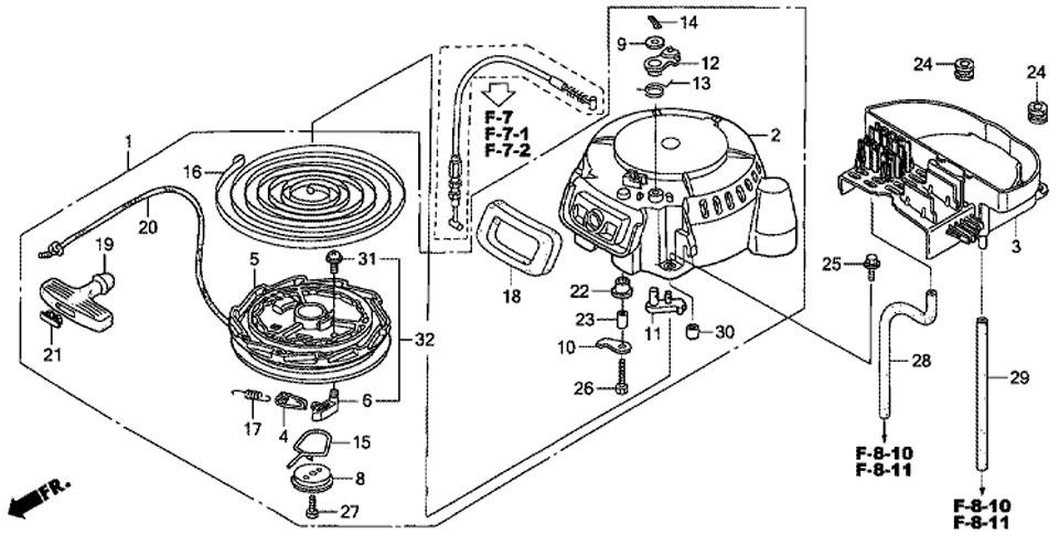 барабанный стартер лодочного мотора honda BF20D3 SHU
