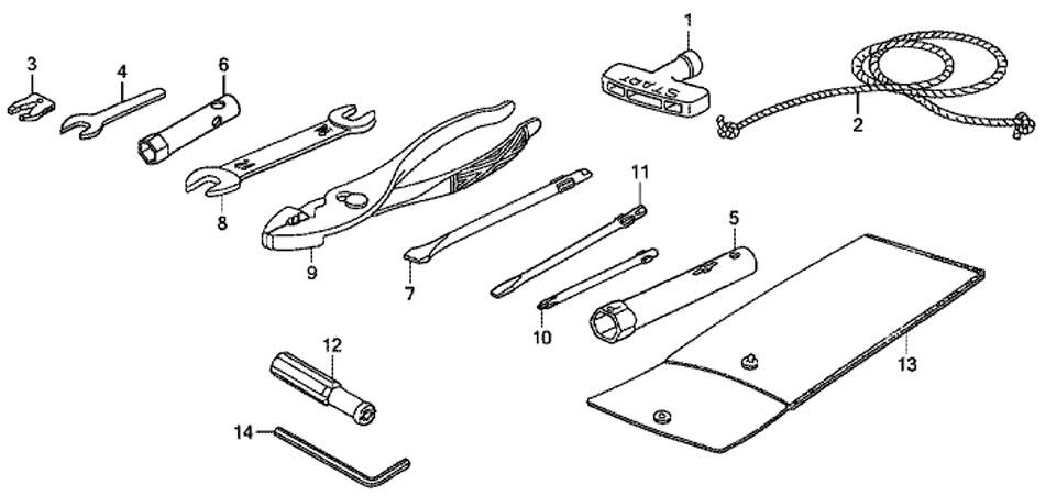 Honda BF 20 D3 SHU стандартный инструмент