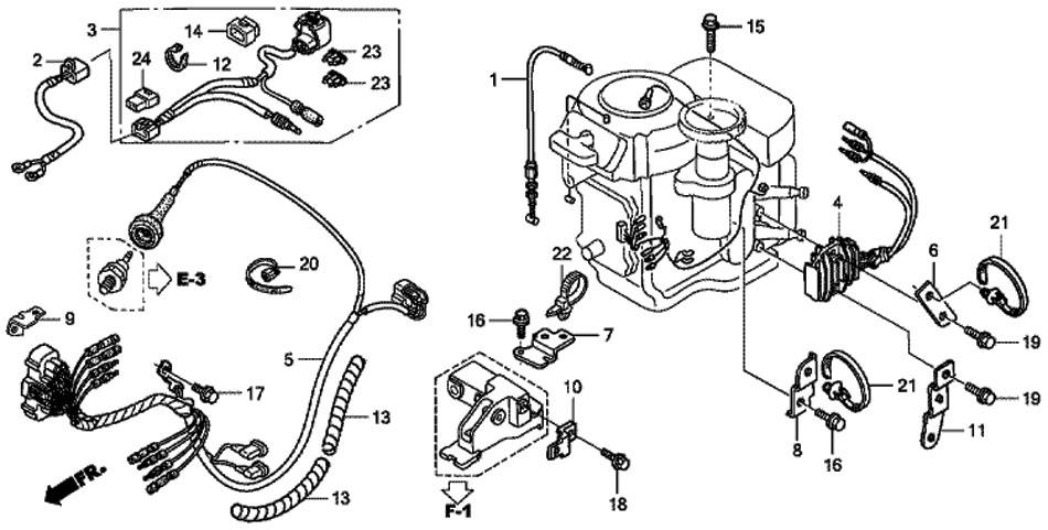 жгут проводов Honda BF 20 D3 SHU и зарядная катушка 6A