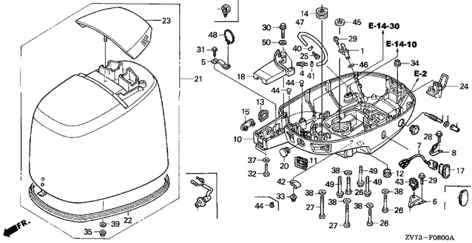 двигатель honda BF30 A4 SRTU, крышка двигателя и нижний кожух