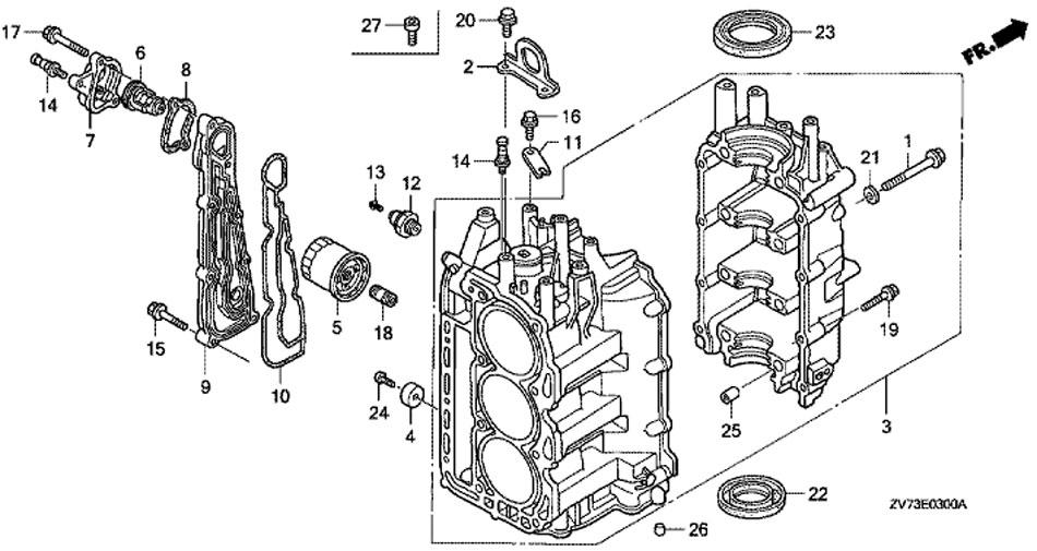 блок цилиндра honda BF30 A4 SRTU, Cylinder Block