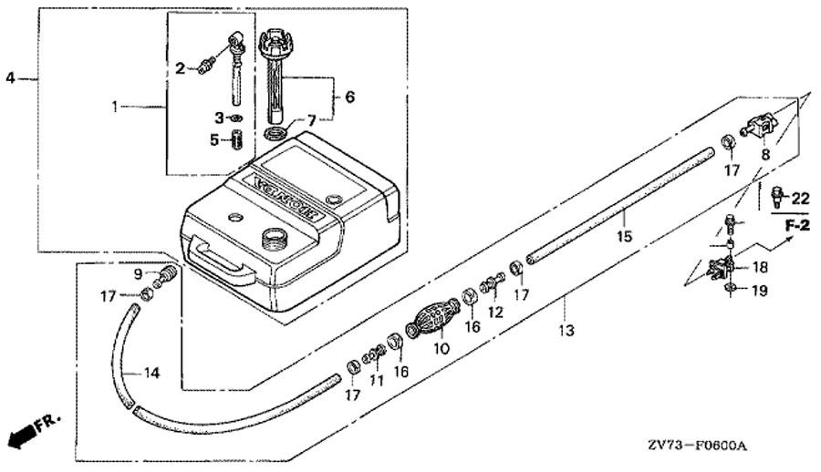 оригинальный топливный бак honda BF 30 A4 SRTU