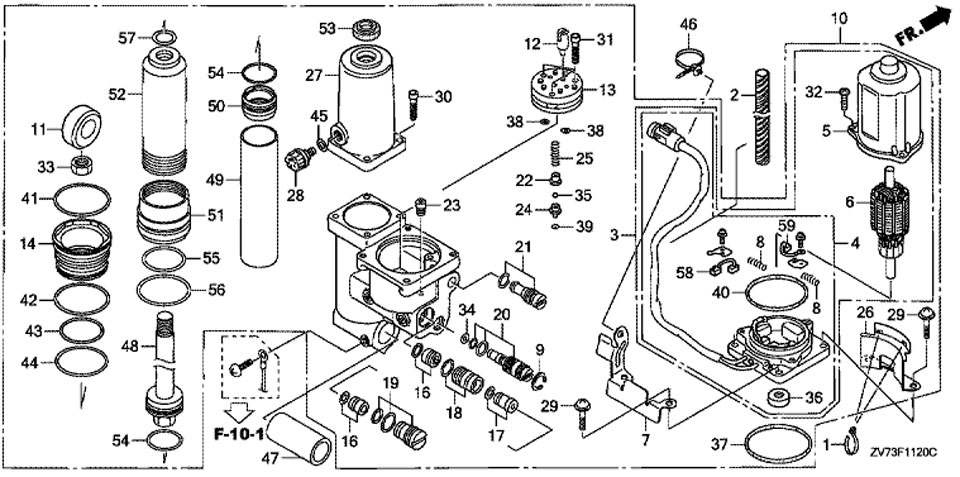 механизированный дифферент наклона модели honda BF30A4 SRTU