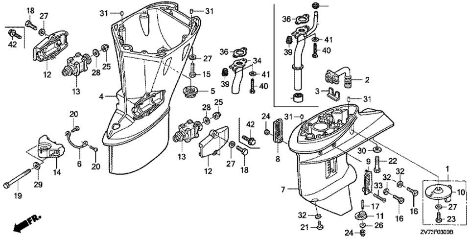 удлиняющий кожух Honda BF30A4 SRTU, запчасти Extension Case