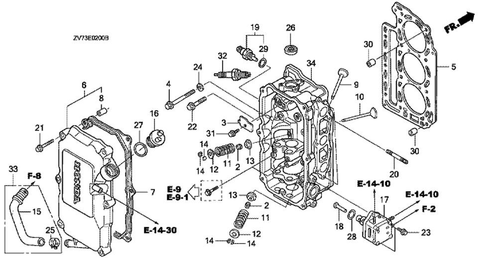 головка блока цилиндра honda BF30A4 SRTU