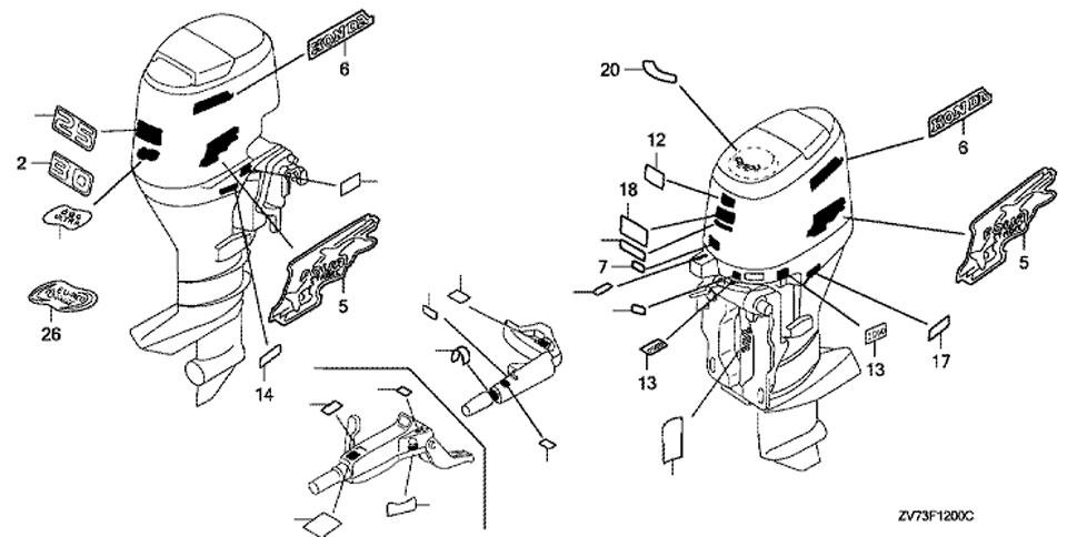 этикетка и предупреждающие наклейки honda BF 30 A4 SRTU