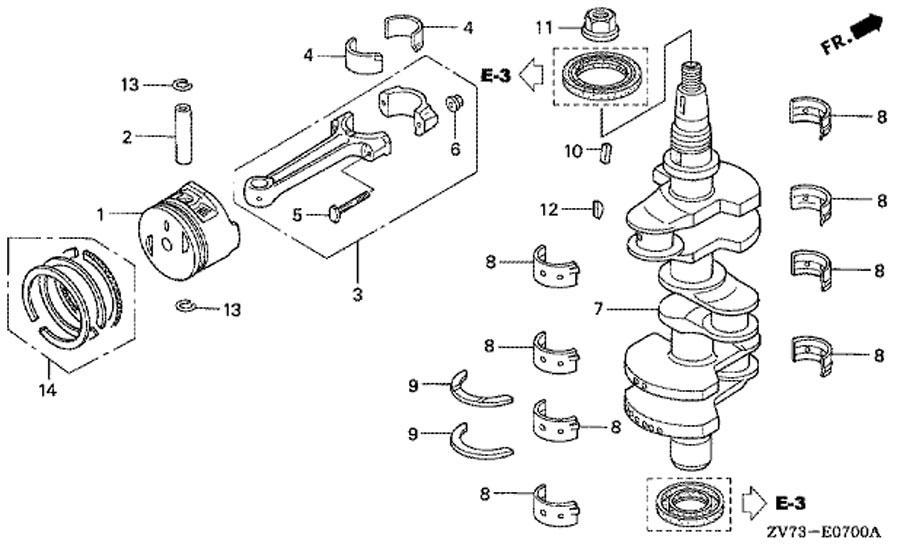 коленчатый вал и поршень двигателя honda BF30A4 SRTU