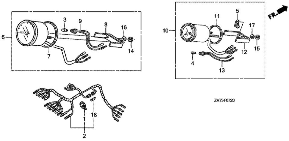 тахометр и счетчик моточасов для honda BF30 A4 SRTU - оригинальные измерительные приборы