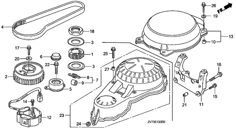 лодочный двигатель honda BF30 A4 SRTU, ремень распредвала, Timing Belt