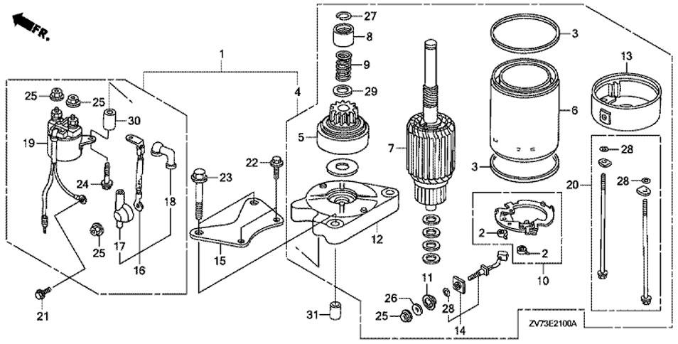 двигатель электростартера HONDA BF30A4 SRTU