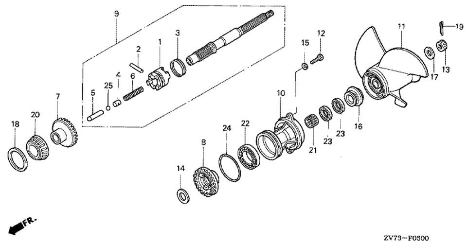 вал гребного винта и гребной винт Water Pump для honda BF 30 A4 SRTU, Propeller Shaft + Propeller