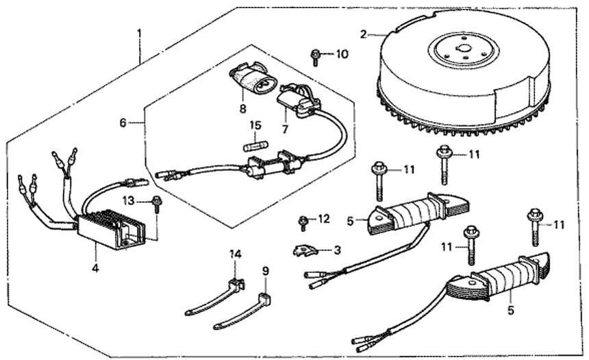комплект зарядной розетки на мотор Honda BF5 A4 SU