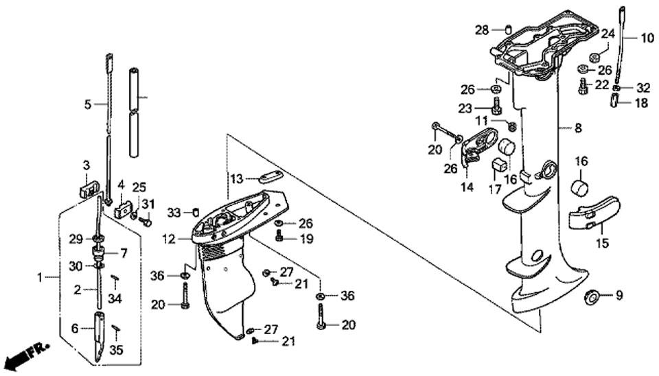 двигатель honda BF5 A4 SU - картер двигателя и удлиняющий кожух