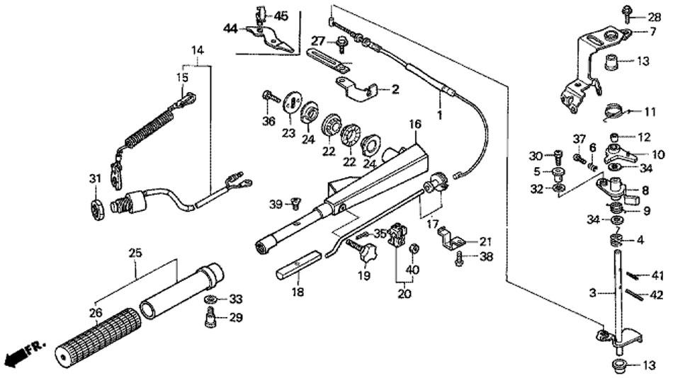 мотор honda BF5 A4 SU - ручка рулевого управления и трос дроссельной заслонки