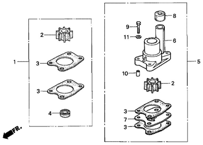 комплект крыльчатки водяного насоса honda BF5 A4 SU