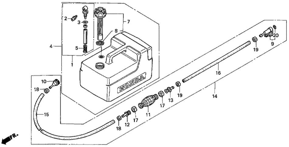 мотор honda BF 5 A4 SU - пластиковый топливный бак