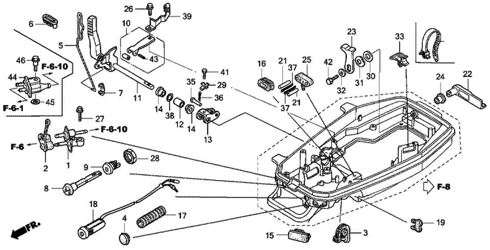 двигатель honda BF5 A4 SU - вал механизма переключения, блокировочный рычаг крышки