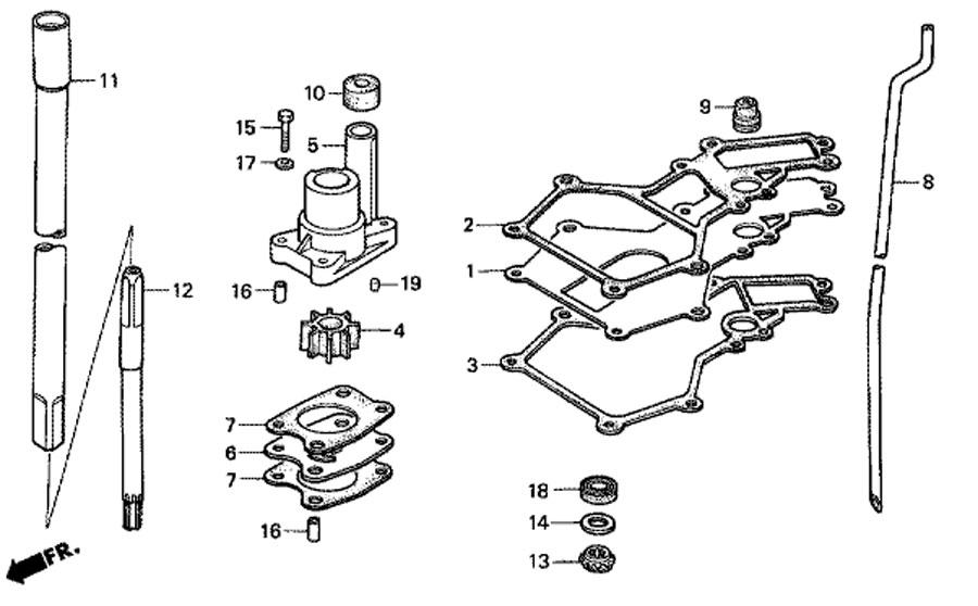 мотор honda BF5 A4 SU - вертикальный вал и водяной насос