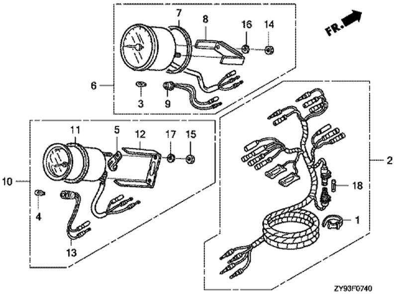 Купить запчасти на лодочный мотор honda BF90 DK0 lrtu измеритель дифферента и тахометр (trim meter + tachometer)...