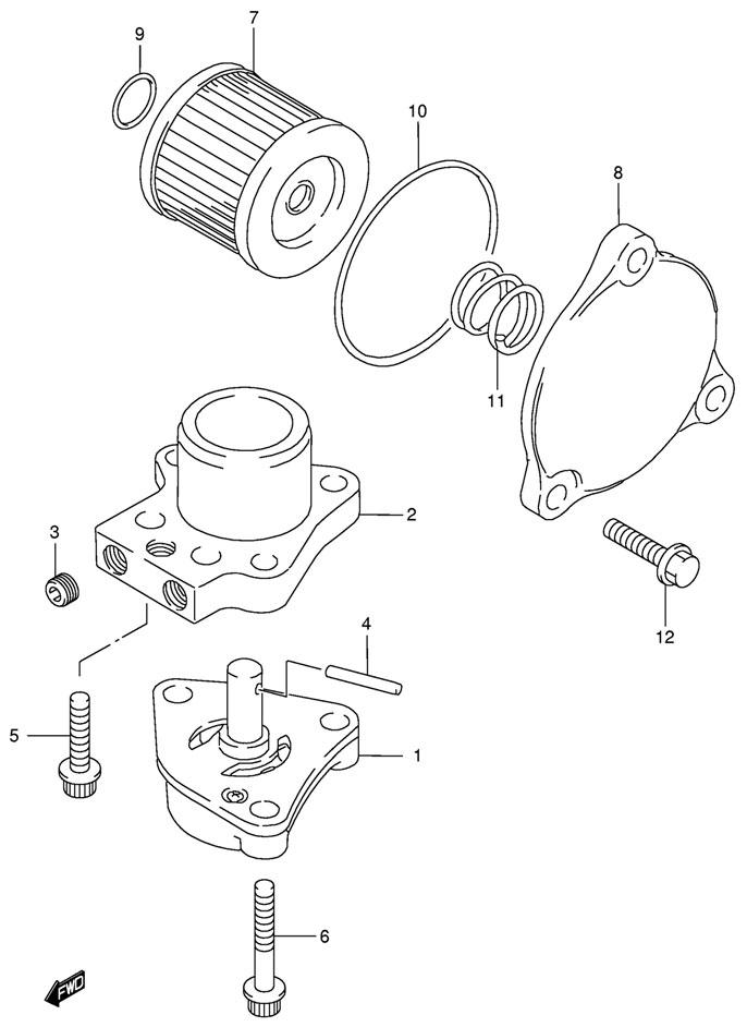 где находится масляный фильтр лодочный мотор сузуки 4