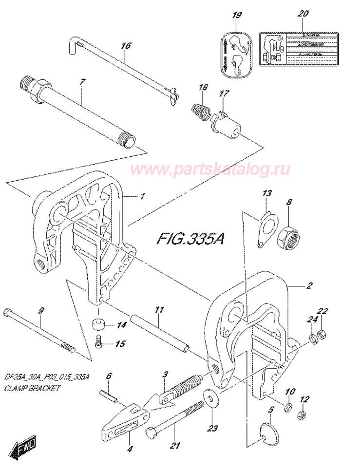 Кронштейн транца (Clamp Bracket) Suzuki DF25A P03, каталог 2014