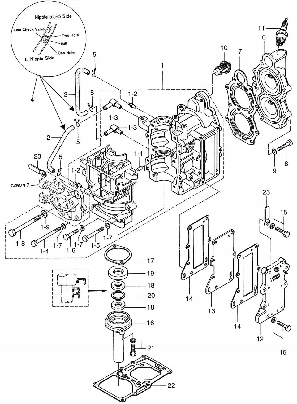 Схема мотора тохатсу 5