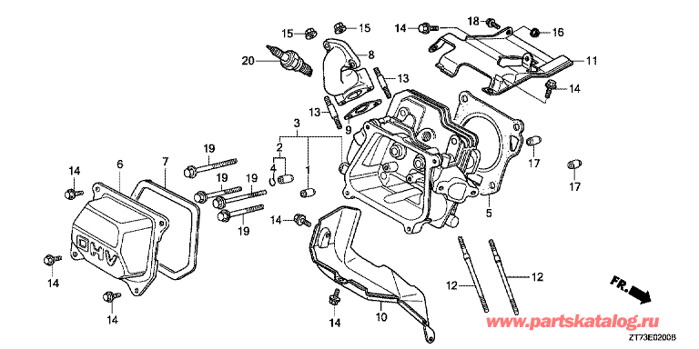 , Honda EU30iS RG A1: - E-02 Cylinder Barrel -  E-02 Головка цилиндра